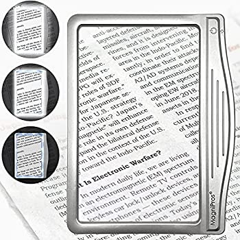 MagniPros 3X Large Ultra Bright LED Page Magnifier with 12 Anti-Glare Dimmable LEDs Evenly Lit Viewing Area & Relieve Eye Strain -Ideal for Reading Small Prints & Low Vision Seniors with Aging Eyes