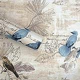 Lependor Retirable Autoadhesivo Impreso Palo Cáscara de papel tapiz vintage es Fondo Decorativo Estante del cajón de la cubierta del rodillo - Pájaro, 0.45m x 3m