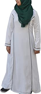 Hayaa Clothing Abaya Burqa Islamic Clothing Viscose Cotton White Loose Cut with Pockets for Hajj Umrah