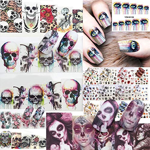 Nail Stickers Nail Art Accessories Decals 20 Sheets Ghost Skull Water Transfer Nail Art Stickers Halloween Gothic