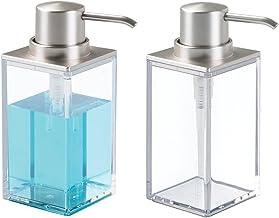 mDesign Juego de 2 dosificadores de jabón rectangulares y Recargables con 296 ml – Elegante dispensador de jabón líquido d...