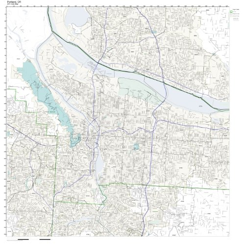 Working Maps Zip Code Wall Map of Portland, OR Zip Code Map Laminated