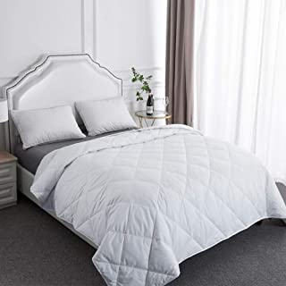 BESC Wool & Goose Down Fill Comforter Queen Size - Lightweight 380TC Silky Cooling Duvet Insert Humidity Fighting -90
