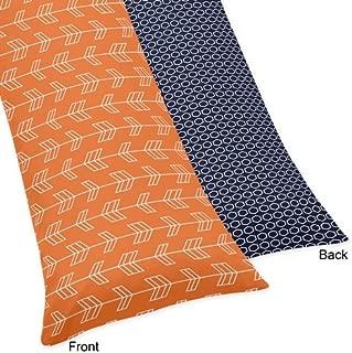 Sweet Jojo Designs Orange and Navy Arrow Print Full Length Double Zippered Body Pillow Case Cover