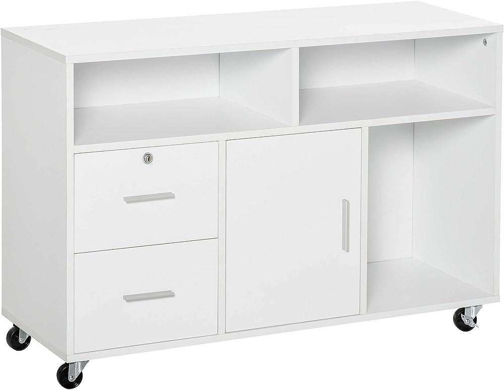 Homcom, mobile porta stampante, con cassetti, mobiletto multiuso, per ufficio e casa IT836-269WT0631