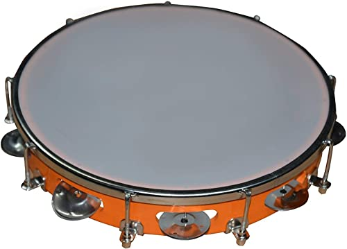 K N Musical Instruments Tambourine Orange Color Size 10 Inch