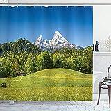 Roman Lin Deutschland Duschvorhang,Bayerisches Alpendorf Berchtesgaden & Watzmann Deutschland,Stoff Stoff Baddekor Set mit Haken,152X183CM Extra,Blaugrün
