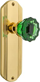 Nostalgic Warehouse 724401 Deco Plate Privacy Crystal Emerald Glass Door Knob in Unlaquered Brass, 2.375