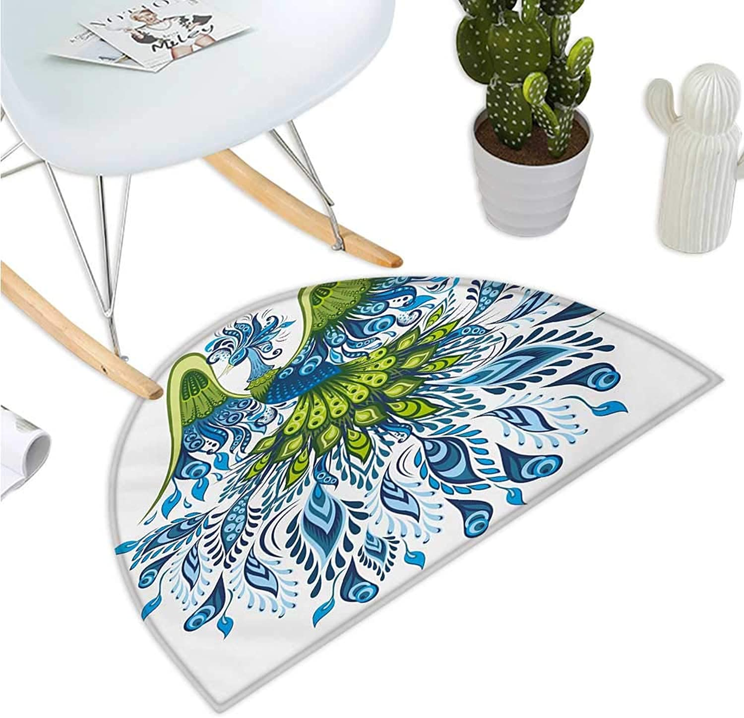 Peacock Semicircular Cushion Abstract Exotic Bird Figure with Stylized Long Tail and Wings Floral Swirled Leaves Bathroom Mat H 43.3  xD 64.9  bluee Green