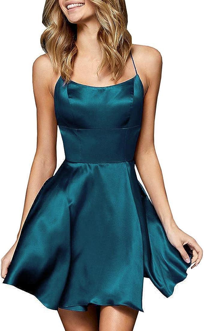 1 year warranty GRILSONTOP Financial sales sale Spaghetti Satin Side Slit Homecoming Dresses Short wi