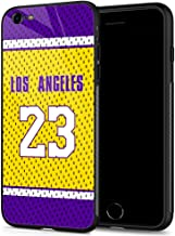 iPhone 6 Plus Cases, Tempered Glass iPhone 6s Plus Case Lebron Jersey Pattern Design Black Cover Sport Case for iPhone 6/6S Plus 5.5-inch Los Angeles #23