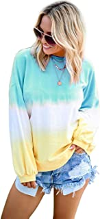 Wenseny Womens-Pullovers Crew-Neck Long-Sleeve Casual Tie-Dye Oversize-Sweatshirts Loose-Tops