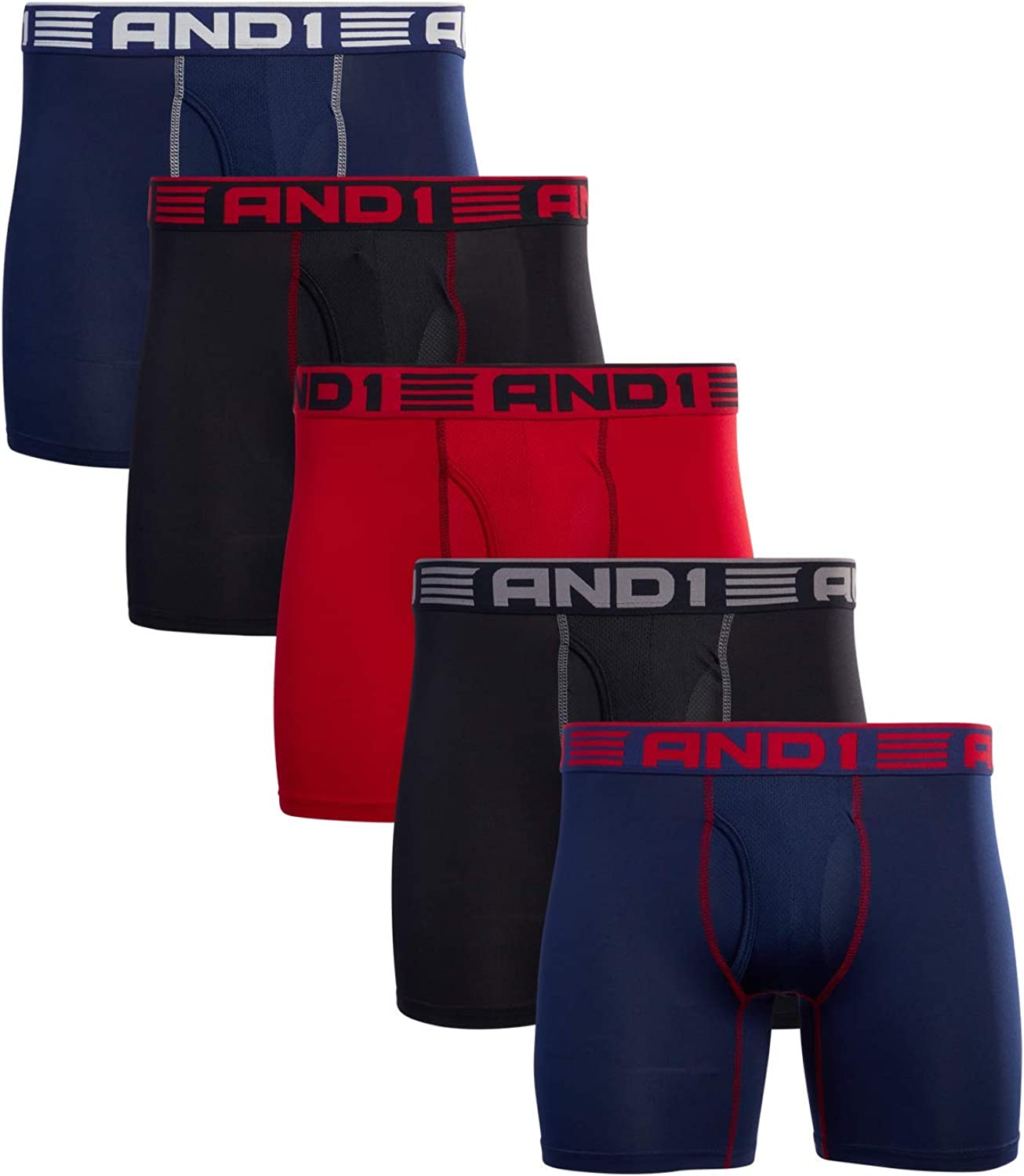 AND1 Men's Underwear - Performance Compression Boxer Briefs with Functional Fly (4 or 5 Pack)
