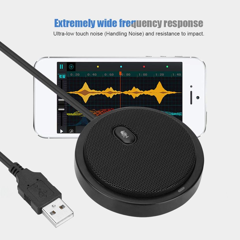 fosa M2 Wired 360/° Pickup Microphone with a 2m USB Cable,Audio Video Omnidirectional Microphone Notebook Desktop Conference Computer Black