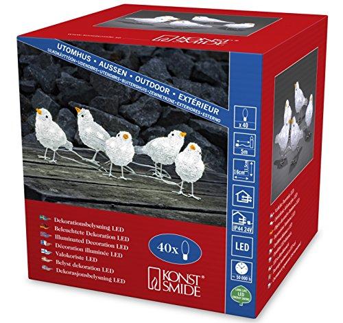 """Konstsmide 6144-203 LED Acrylfigur \""""Vögel\"""" / 5er- Set / für Außen (IP44) /  24V Außentrafo / 40 kalt weiße Dioden / transparentes Kabel"""