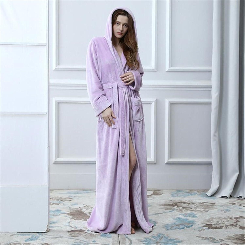 Soft Cozy Flannel Thickened Hooded Bathrobe Women Bathrobe Robe Cardigan NightgownPurple Bathrobe for Women (color   purple, Size   L)