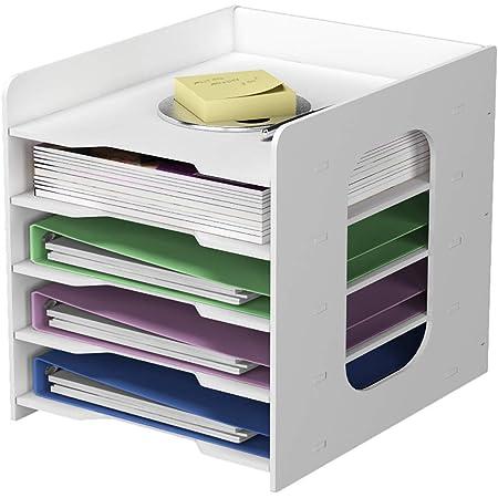 PUNCIA 5Tier Office Paper Organizer for Desk Desktop File Holder Desk Letter Tray & A4 Paper Holder Document Storage Rack for Home Office School (5Tier)