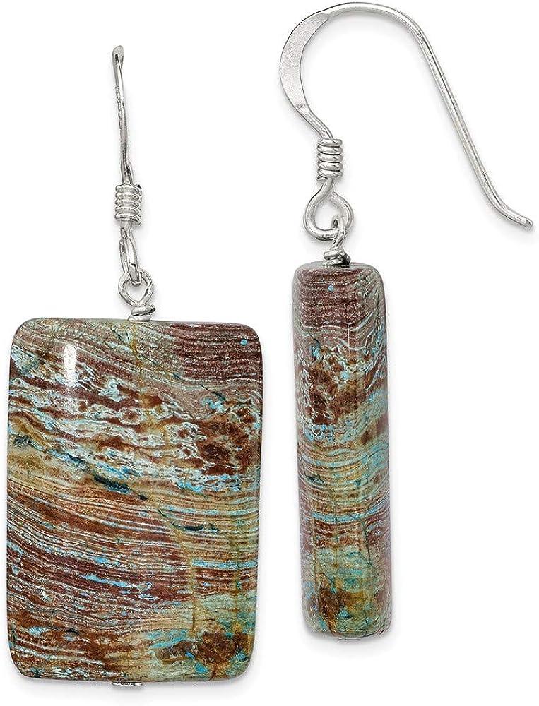 Max 70% OFF FB Jewels Solid 925 Silver Atlanta Mall Sterling Jasper Earrings
