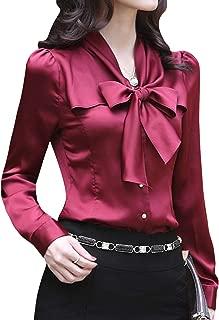 HUPOO Women's Slim Bow Knot Basic OL Business Office Silk Shirts Blouse