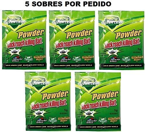 Greenleaf DESINFECCION INSECTICIDA para Eliminar CUCARACHAS por Ingestion 5 sobres polvo original efectivo green leaf sin caja