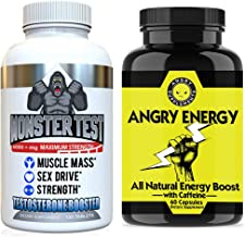 Angry Supplements Monster Test Testosterone Booster + Angry Energy 2-Bottle Bundle - Maximum Strength Testosterone Boosting Energy & Stamina Pack for Men - Safe, Natural Pills (2-Bottles, 180 Count)