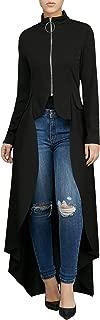 Women Casual High Low Dip Hem Long Sleeve Blouse Zipper Top Loose T-Shirt Dress Plus Size