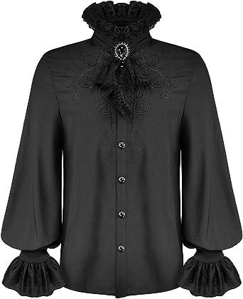 Devil Fashion Camisa gótica para hombre Top & Encaje Jabot ...