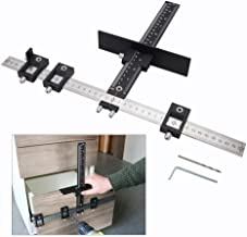 Cabinet Drawer Drilling Template Jig-Door Handles and Knobs Hardware Punch Locator for Easy Installation-Professional Measuring Woodworking Tool (Aluminum+Stainless Steel)
