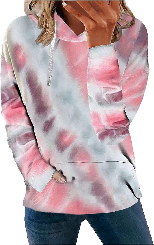 FABIURT Sweatshirt for Women Casual Tie Dye Print Sweatshirt Pullover Long Sleeve Jumper Hoodies Tops Blouse with Pocket