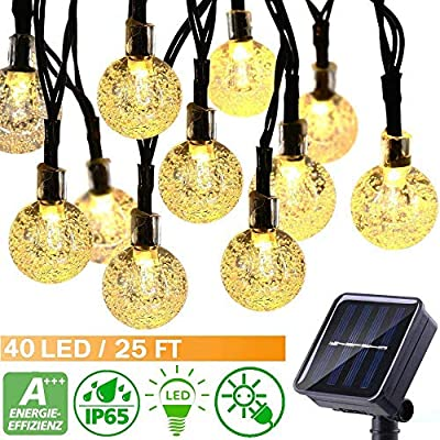 ECOWHO Solar String Lights Outdoor, 25ft 40 LED Waterproof Globe Solar Powered Fairy String Lights for Garden Patio Wedding Party Holiday Decoration (Warm White Crystal Ball)