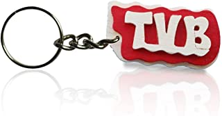 Portachiavi in legno con la scritta TVB colore rosso, fatto a mano, da indossare o per fare un regalo originale.