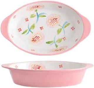 Ceramic Baking Dish 9 inch Oval Ceramic Baking Tray Lasagna Pan Baked Rice Salad Bakeware Pan Dish With Handle Oven Kitche...