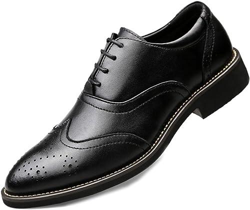 MERRYHE Herren Echtes Leder Brogues Business Formale Kleid Oxford Schuhe Party Arbeit Hochzeit Spitzschuh Lace-ups Schuh