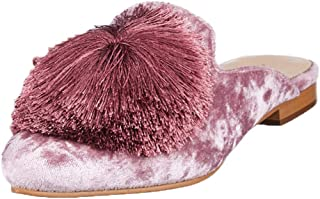 Saint G Womens Pink Pom Pom Flat Leather Mules
