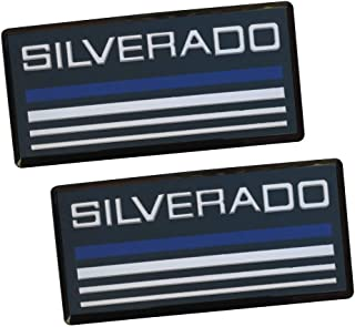 2x Chevy SILVERADO Cab Emblem Badge Side Roof Pillar Decal Plate Replacement for Silverado 88-98 90 91 Suburban Tahoe C/K Series Blazer (Blue white)