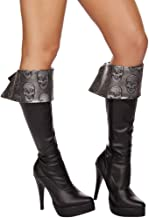 Roma Costume Women's Skull Embroidered Boot Cuffs Grey