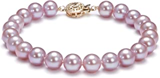 Lavender 7.5-8mm AAA Quality Freshwater Gold filled Cultured Pearl Bracelet For Women