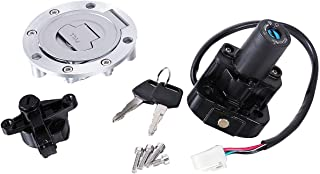 INNGLOW Motorcycle Ignition Switch Fuel Gas Cap Cover Seat Lock Key Set Kit Fits For Yamaha YZF 600 1000 XJR 400 1200 1300