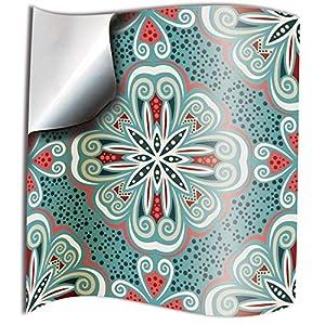 24x Menta turca Lámina impresa 2d PEGATINAS lisas para pegar sobre azulejos cuadrados de 15cm en cocina, baños – resistentes al agua y aceite (TP80 - Turkish Mint)