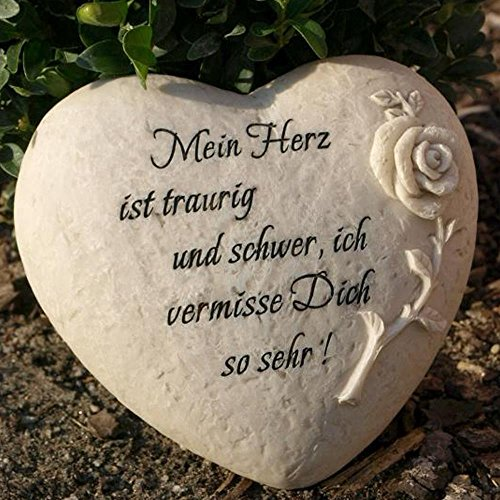 Trauerherz Grab Spruch - Mein Herz ist traurig und schwer, ich vermisse Dich so sehr !