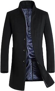 Men's Trench Coat Long Wool Blend Overcoat Slim Fit Down Topcoat