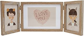 Afuly Three Picture Frame Rustic 5x7 and 4x6 Hinged Triple Photo Frames Wooden Farmhouse for Tabletop Desk 3 Opening Light Brown Wedding Gifts