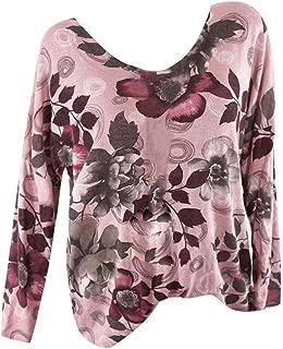 An Ping Women Plus Size Loose Long Sleeve V-Neck Print T-Shirt Tops Blouse