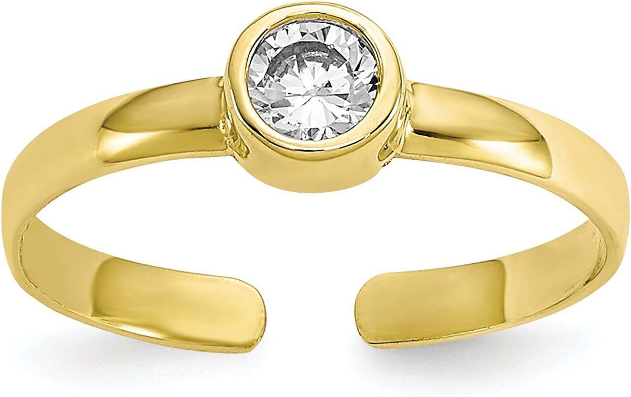 10k Yellow Gold Bezel Set Round CZ Toe Ring
