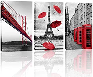 Paris Canvas Wall Art Red Eiffel Tower Bridge Pictures for Bedroom Retro Red Telephone Booth Prints Artwork Contemporary Art Black and White Famous Building for Home Walls Decor
