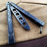 Flying Dragon Training Knife, All Stainless Steel Trainer, No Offensive Blade for CS GO, Beginner, Children, 100% Safety (Black)