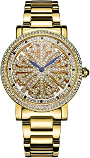 Ladies Simulate Diamond Quartz Watches Crystal Watches Steel Band Round Dial Analog Clock Classic Female Charm Bracelet Dress Wristwatches (Color : Gold)