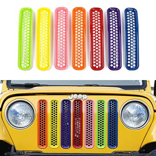 L&U Kit Inserti per griglia Anteriore a griglia a Nido d\'Ape 7 Pezzi per Jeep Wrangler TJ & Unlimited 1997-2006,Rainbow
