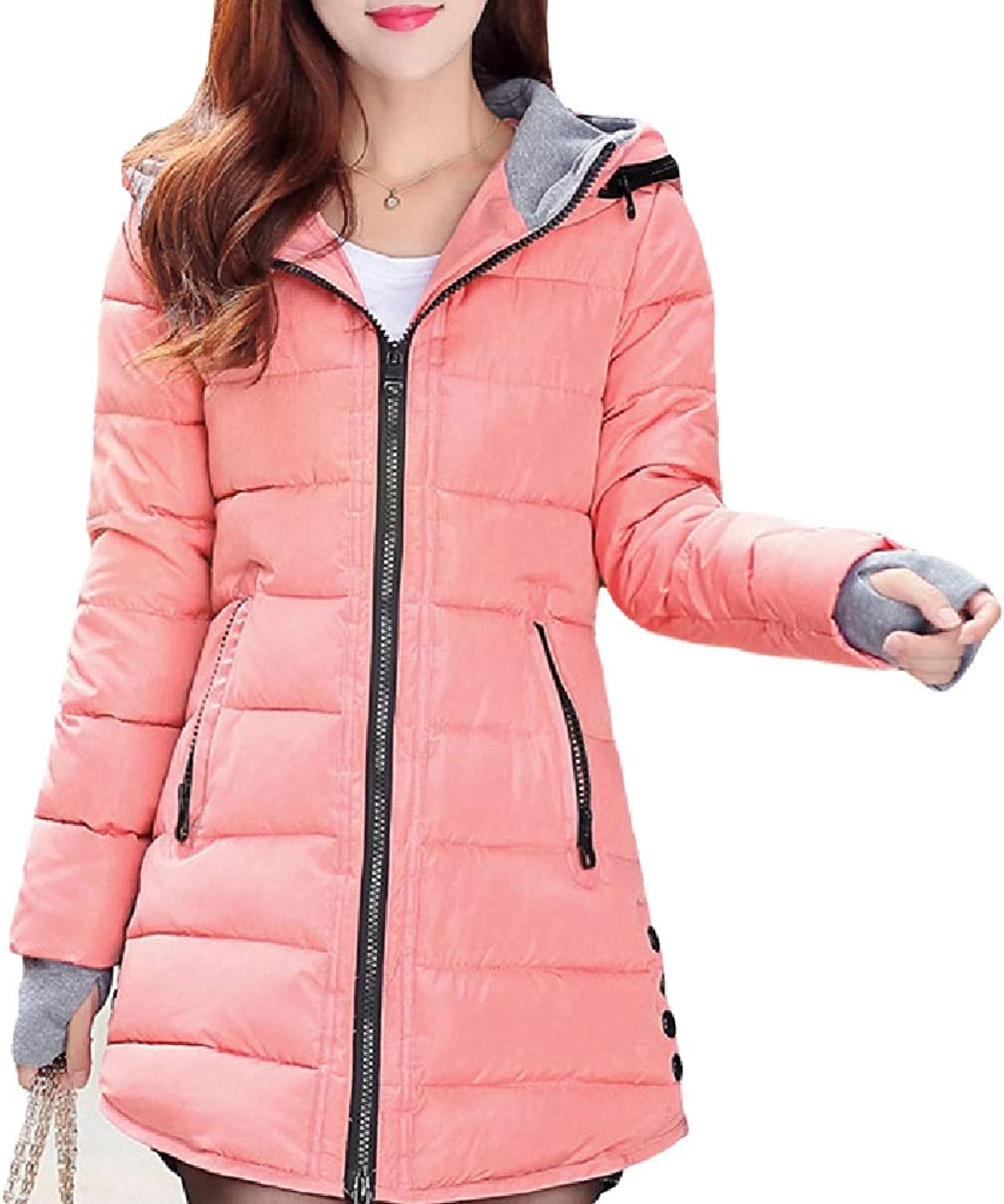 Aehoor Womens Winter WarmThick Section 90% Duck Down Jacket Hooded Parker Coat