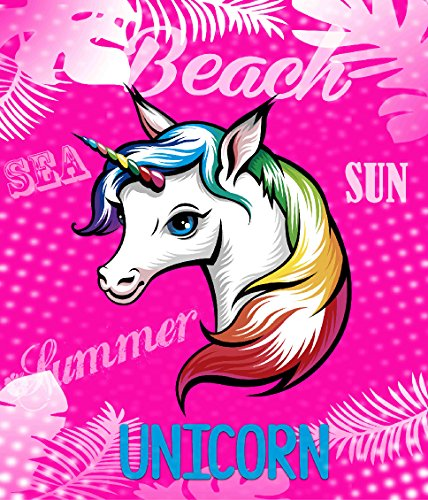 TEXTIL TARRAGO Toalla de Playa Gigante Unicornio Rosa 180x140 cm 100% algodón